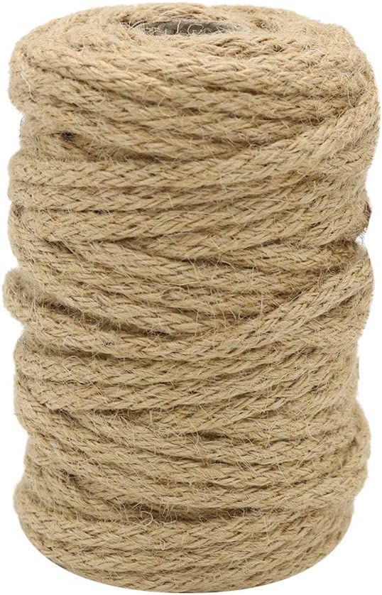 Vivifying 5mm Jute Rope, 65 Feet Braided Jute Macrame Cord for Garden, Gifts, DIY Crafts (Brown)