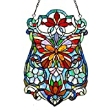 19'' H Stained Glass Butterfly Fleurs Window Panel