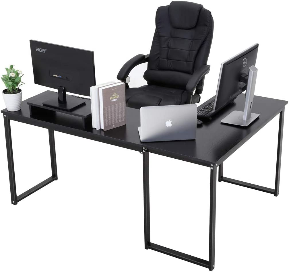 Computer Desk, ZCH L-Shaped Large Corner PC Laptop Study Table Workstation Gaming Writing Desk for Home Office – Free Monitor Stand – Wood Metal – Black Wood Grain