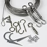 YQL Outdoor Lights Hanging Kit,Globe String Lights Suspension Kit,164ft Black Vinyl-Coated 304 Stainless Steel Cable,String Light Guide Wire,Hook & Eye Turnbuckle Wire Rope Tension
