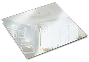 Light In The Dark 12 Inch Square Mirror Candle Plate 1.5 mm Thick with Round Edge Set of 12