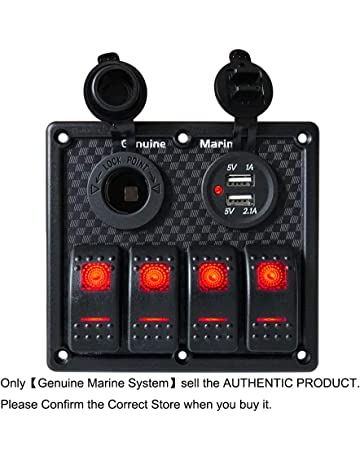 3/4 Gang Marine Boat Rocker Switch Panel - 12V LED Lighted Switches, Fuse