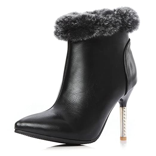 Women PU Spiral High Heels With Artifical Plush Boots