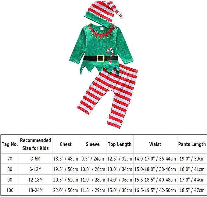 FYMNSI Neugeborenes Baby M/ächen Jungen Weihnachtself Outfit Langarm Strampler Spielanzug Gestreift Hose Hut 3tlg Kleinkinder Unisex Erstes 1 Weihnahcten Party Bekleidungsset Fotoshooting 0-18 Monate