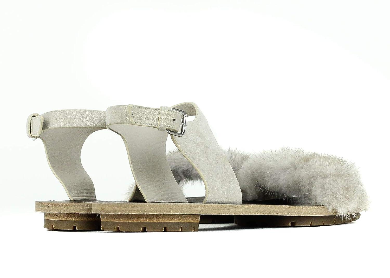 Brunello Cucinelli Womens Grey Leather Mink Fur Flat Sandals IT37//US7~RTL$1545