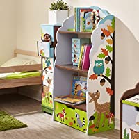 Fantasy Fields - Enchanted Woodland Thematic Kids Wooden Bookcase with Storage | Imagination Inspiring Hand Crafted & Hand Painted Details | Non-Toxic, Lead Free Water-based Paint