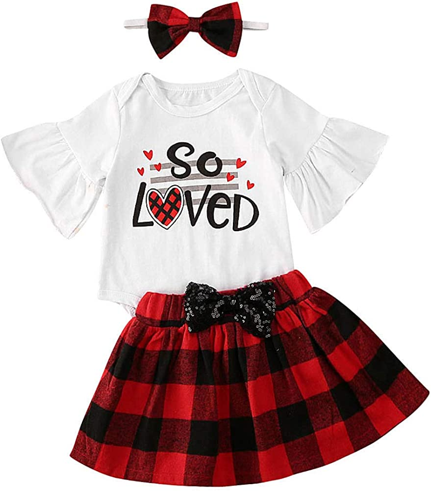 Baby Girl Clothing Set Plaid Skirted T-Shirt Tops+Denim Short Bloomers Headband Baby Girl