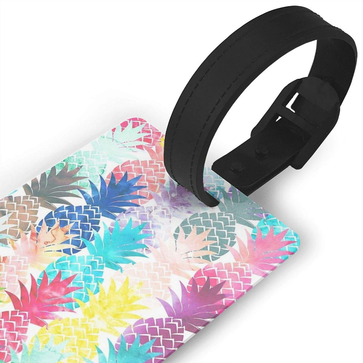 Hawaiian Pineapple Pattern Tropical Watercolor Luggage Tags Suitcase Labels Bag Travel Accessories Set of 2