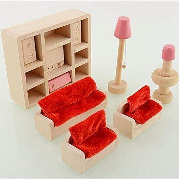 Madera Sala Casa de Muñecas Muebles en Miniatura Sofá Gabinete de TV Set de Juguete Familia de Muñecas Juegos de Imaginación para Niños Chicas por ...