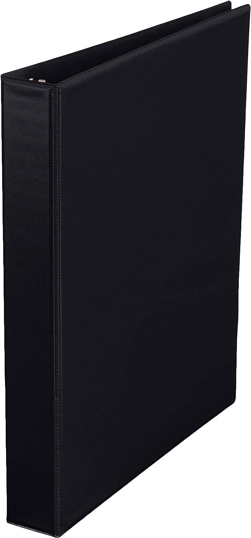Amazon Basics 1 Inch, 3 Ring Binder, Round Ring, Customizable View Binder, Black, 4-Pack