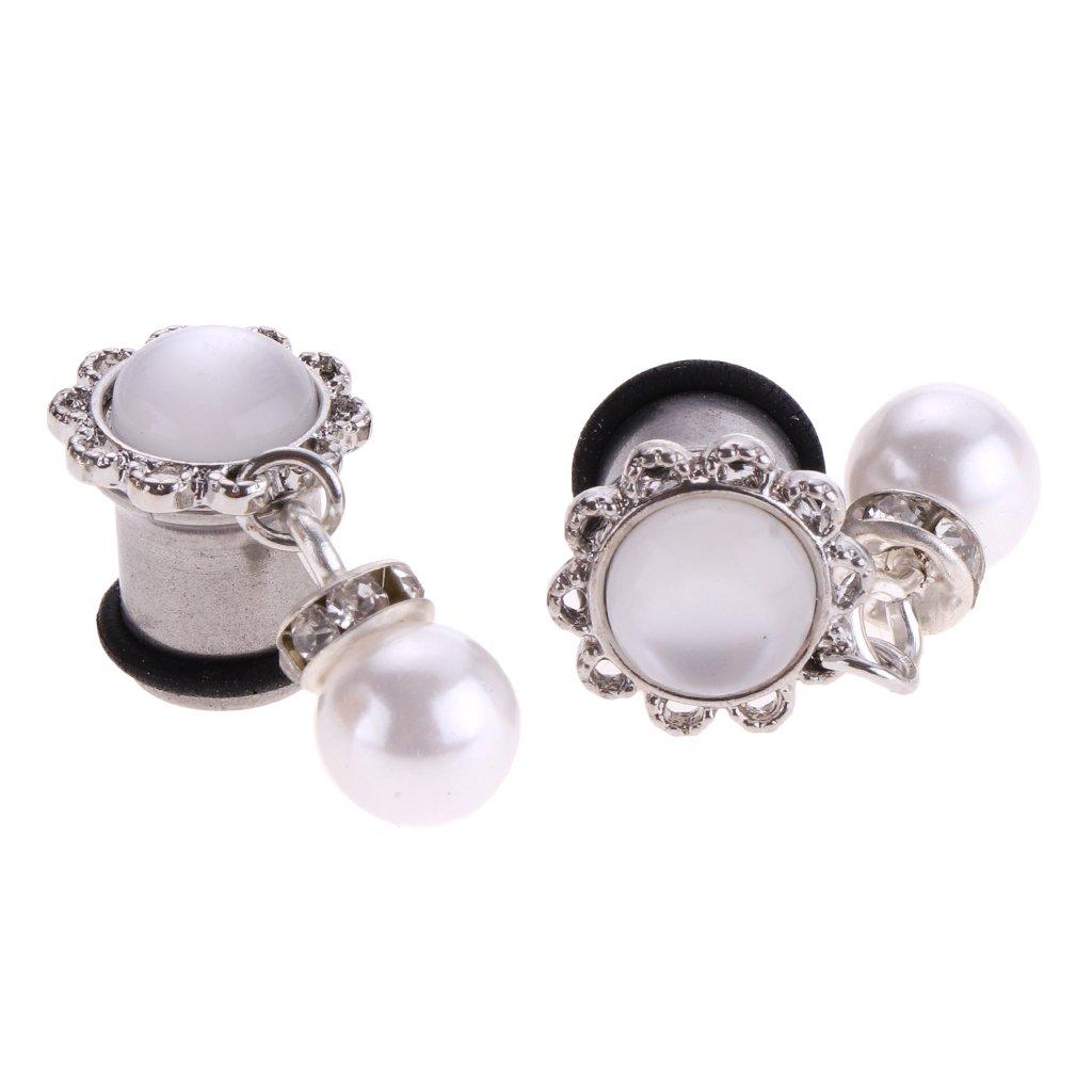 D DOLITY 1 Par Dilatador Dilatación Piercing Orejas, 7 Tamaños Seleccionables - Colgantes Perlas simuladas, 8 mm: Amazon.es: Hogar
