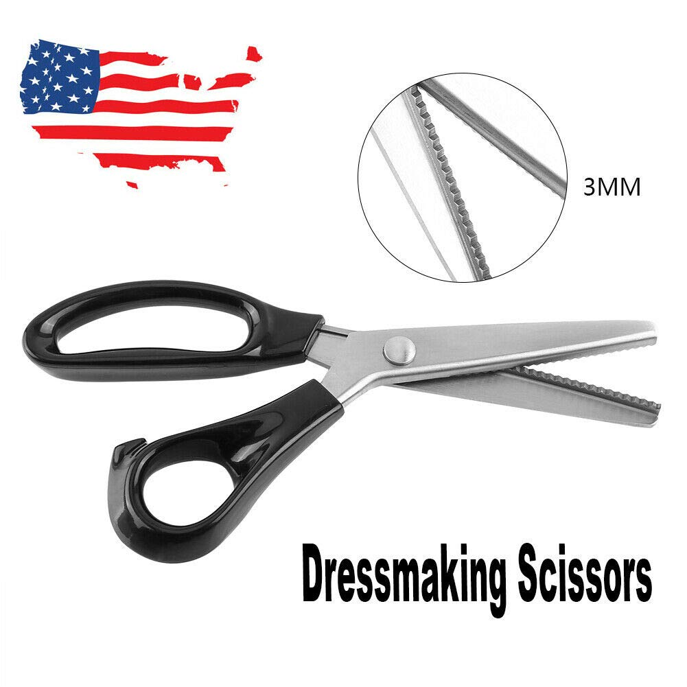 23cm Professional Dressmaking Pinking Shears Scissors for Fabrics Lining Leather by LxHealthy