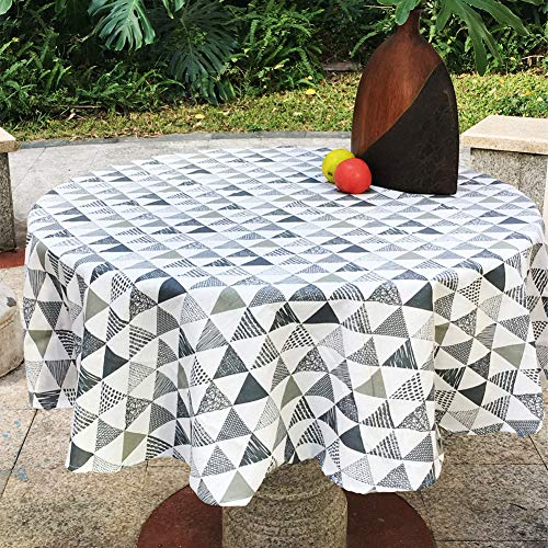 (Amzali Triangle Pattern Tablecloth Geometric Series Cotton Linen Dust-Proof Table Cover for Kitchen Dinning Tabletop Home Decor (Round 60 Inch))