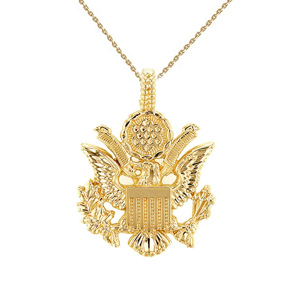 United States Great Seal in 10k Yellow Gold Pendant Necklace, 16''