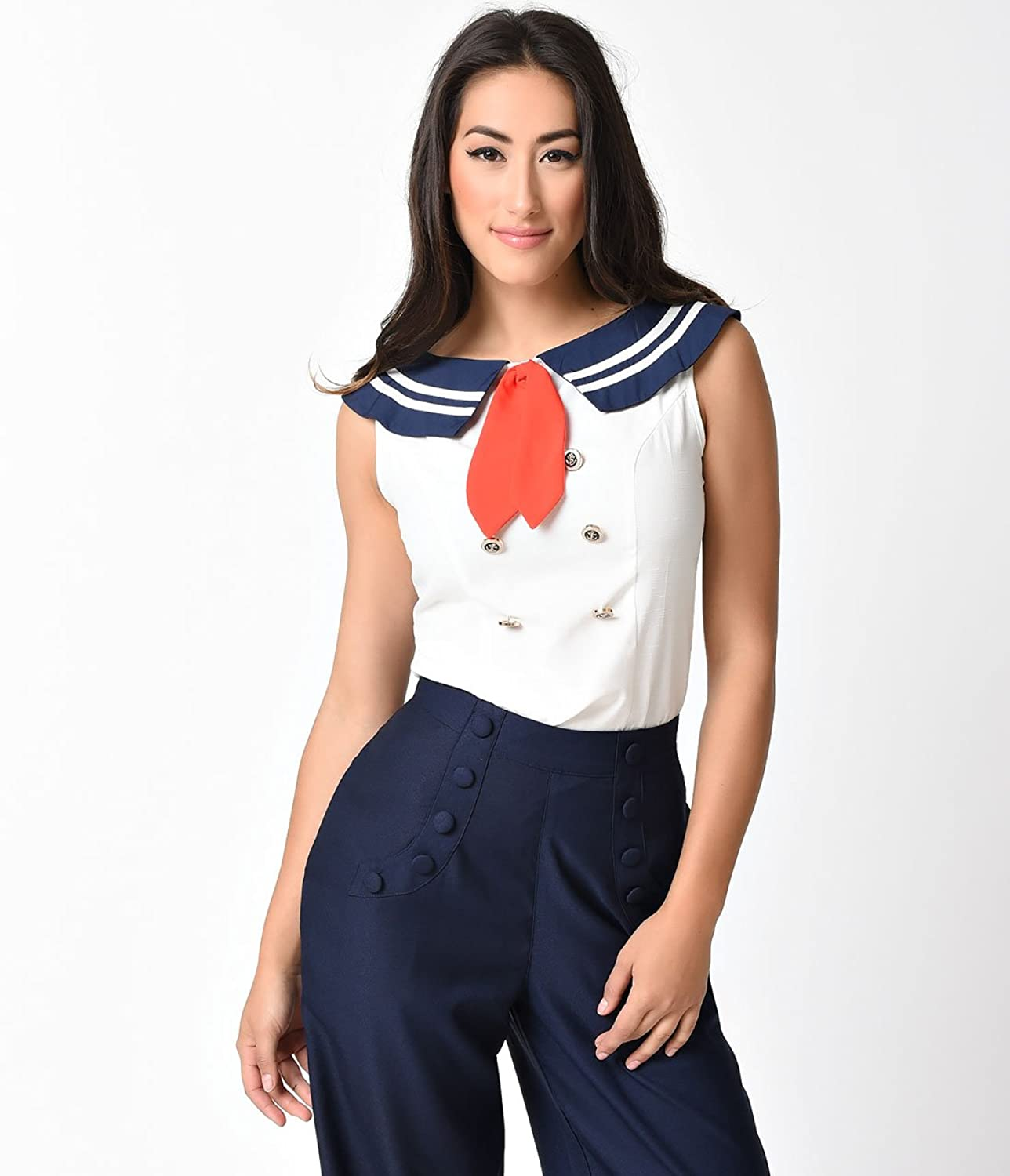 1930s Style Tops, Blouses & Sweaters Banned Retro Style Ivory Bandit Sailor Sleeveless Blouse $48.00 AT vintagedancer.com
