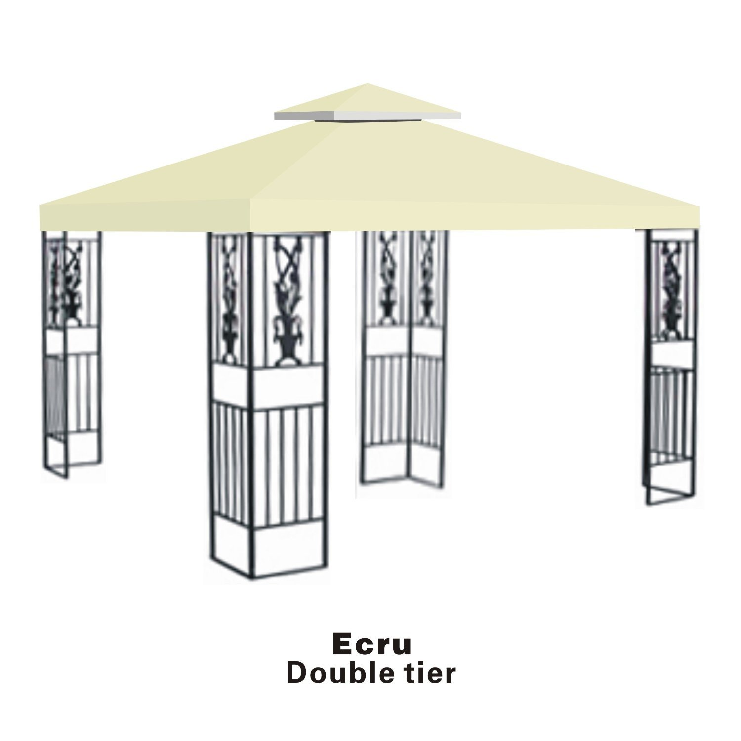 Strong Camel Double Tier Replacement Cover for 10'X10'Gazebo Canopy Top Patio Pavilion Cover Sunshade Polyester-Ecru