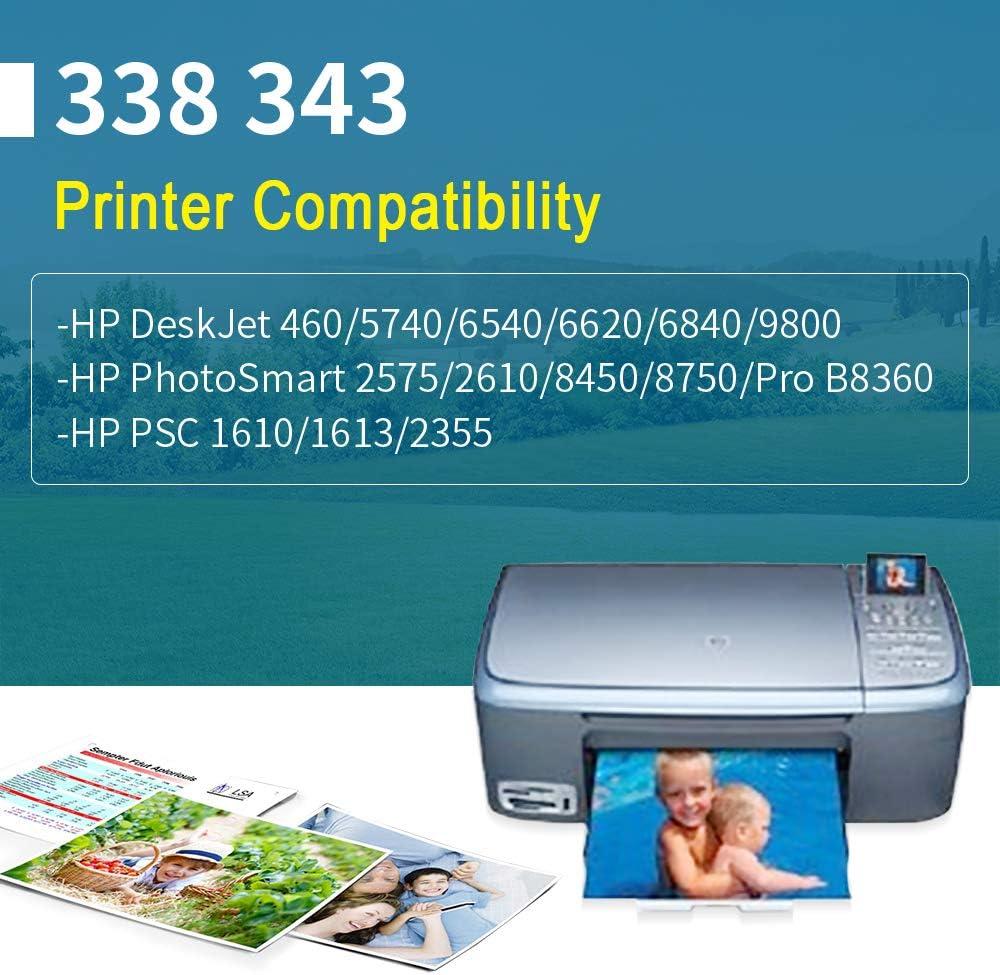YWSS Remanufacturado Cartucho de Tinta para HP 338 HP338 Alto Rendimiento Cartucho de Tinta (2 Negro) C8765E para HP DeskJet 460/5740/6540/6620/6840/9800/6540 6540D 5740: Amazon.es: Electrónica