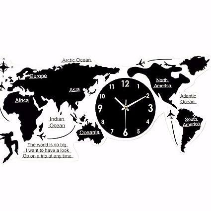 Amazon Com Wall Clcck Simple Wall Clock World Map Clock Living Room