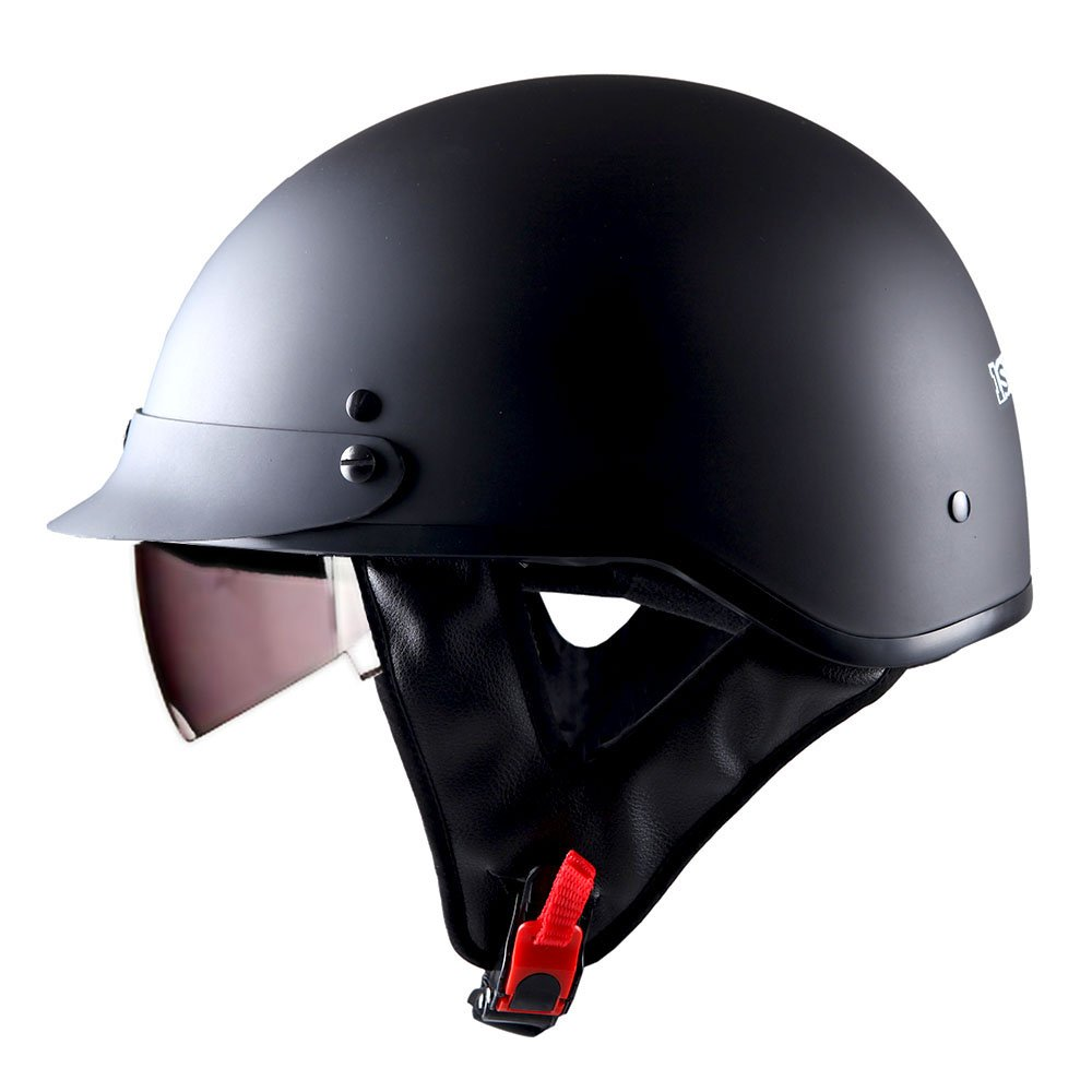 1STorm Motorcycle Half Face Helmet Mopeds Scooter Pilot with retratable Inner Smoked Visor, Matt Black by 1Storm