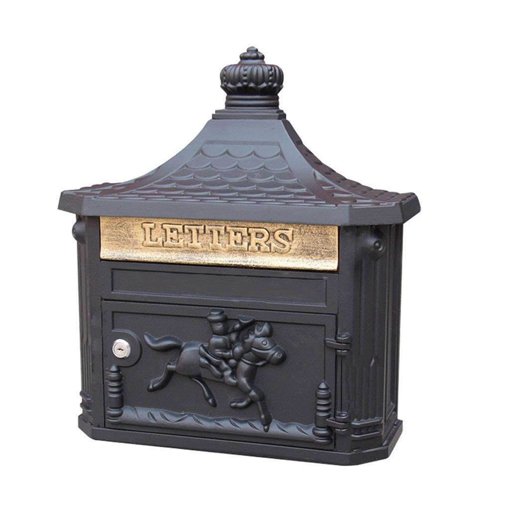 CS ホームレターボックスアンティーク屋外壁掛けのヴィラ防水メールボックス (Color : Black) B07DS8W26M 20886 Black Black