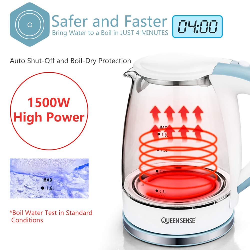 Queensense 1.8 L Wasserkocher Glas Beleuchtung LED kochen schnelle Abschaltautomatik gegen trockene Kochen