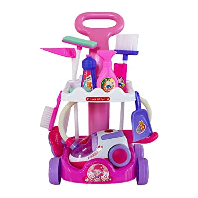 Fightsong Pretend Play Cleaning Set for Toddler Large Cleaning Cart Playset Colorful Housekeeping Pretend Toy Kit Electric Vacuum Cleaner Broom Mops Dustpan: Home & Kitchen