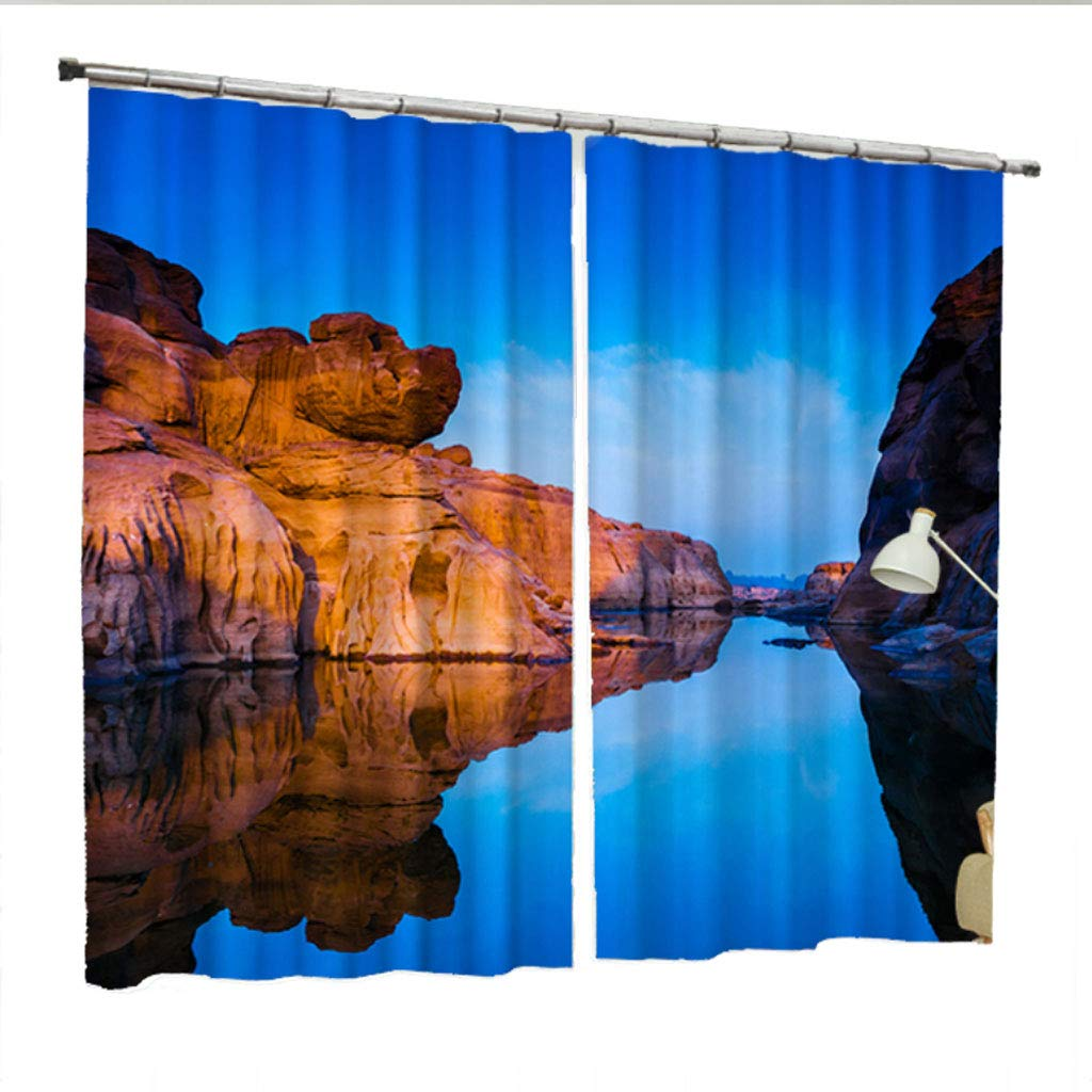 ZZHL Curtains Curtains,Scenery 2 Panels Blackout Super Soft Thermal Insulated Grommets Drapes for Bedroom Living Dining Office (Size : 1x2.13m)