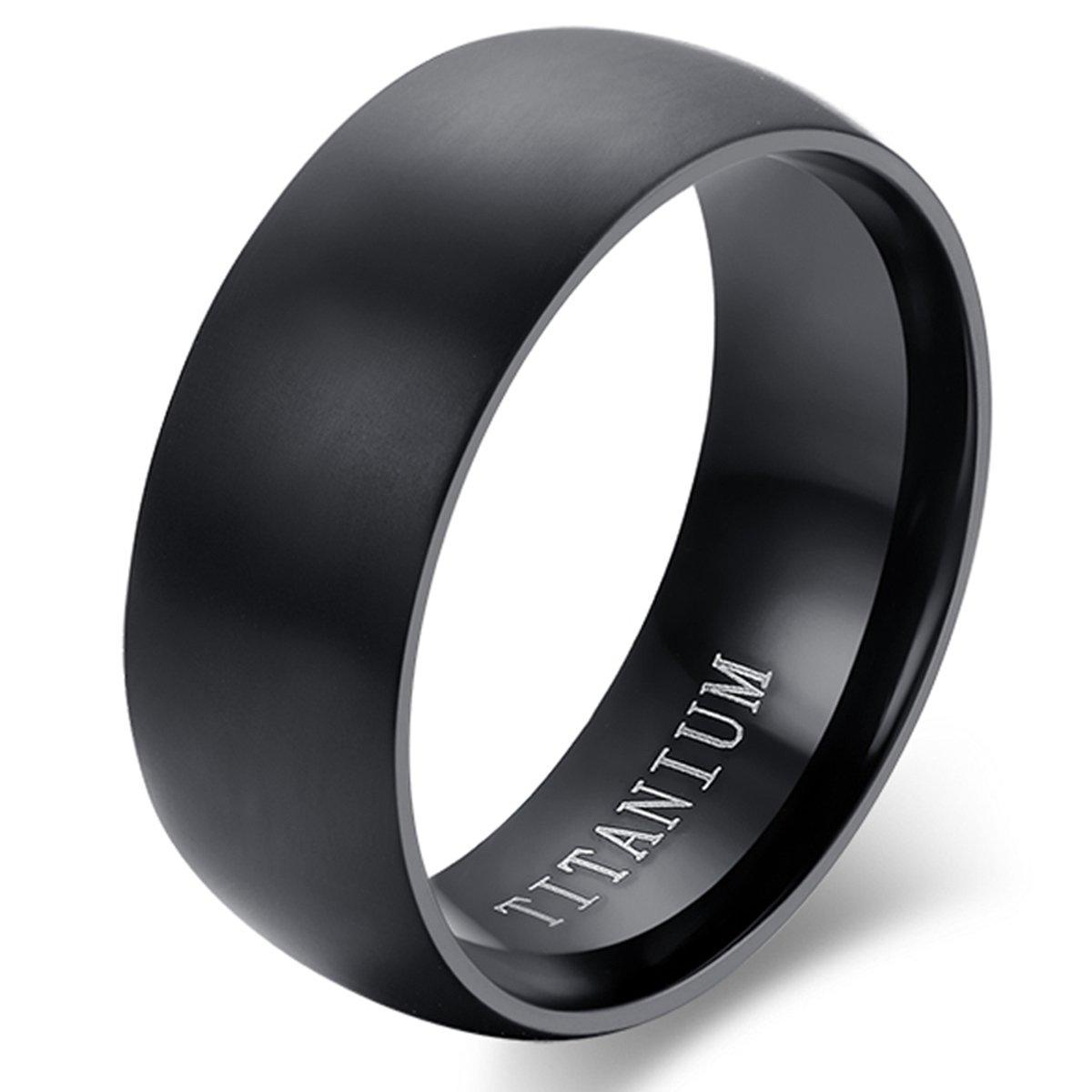 Flongo Bague Titane Titanium Mariage Valentin Engagement Anneaux Large 8mm Couleur Noir Taille Optionnel Classique Poli Bijoux Cadeau Homme FLG38P00149