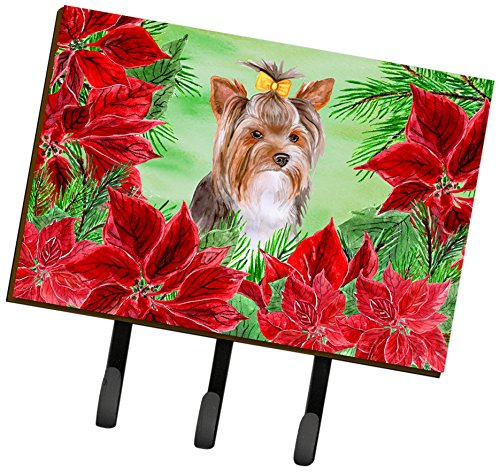 Caroline's Treasures Yorkshire Terrier #2 Poinsettias Wall Hook, Triple, Multicolor