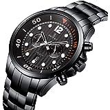 腕時計 メンズ腕時計 ファッション カジュアル ビジネス ステンレス スチール ウォッチ 防水 多機能 日付 クォーツ腕時計 ブラック