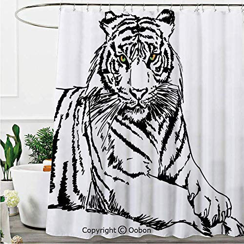 (Oobon Shower Curtains, Sketch of A Posing Tiger Sharp Eyes Largest Cat Species Dark Vertical Stripes Art, Fabric Bathroom Decor Set with Hooks, 72 x 72 Inches)