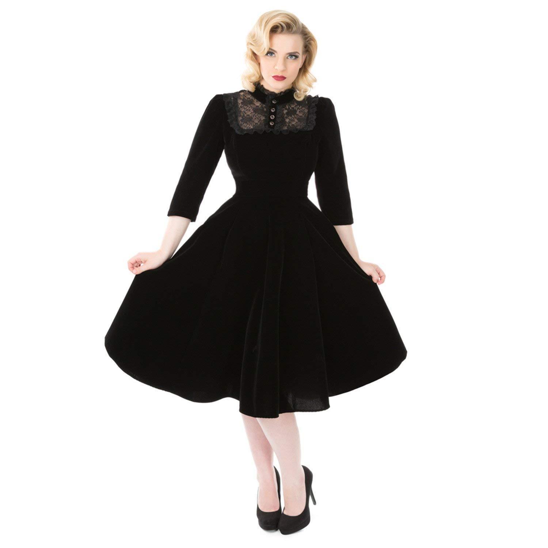 Steampunk Dresses | Women & Girl Costumes Hearts & Roses London Black Velvet Victorian Gothic Steampunk Vintage Dress £39.99 AT vintagedancer.com