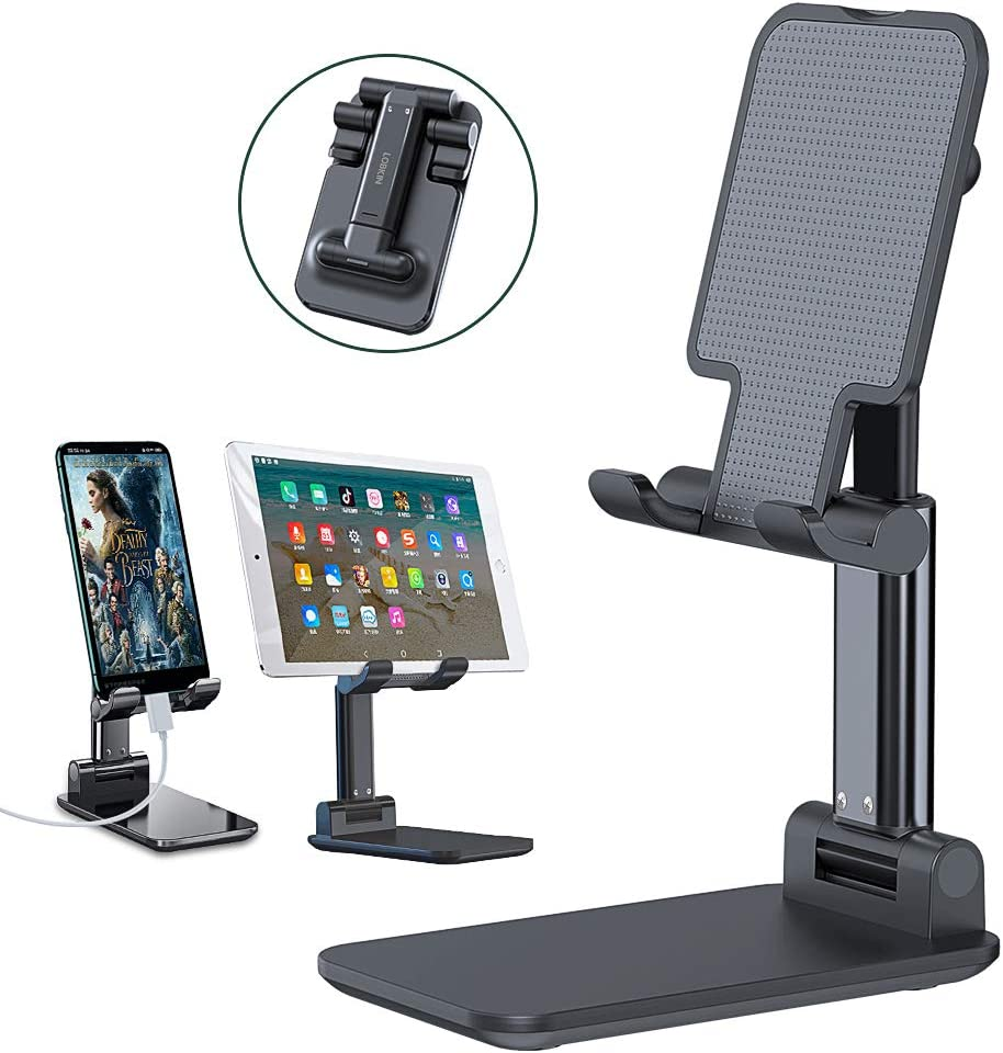LOBKIN Adjustable Cell Phone Stand, Foldable Portable Phone Holder Cradle Dock for Desk, Desktop Tablet Stand Compatible with iPhone 11 Pro XS Max XR X Samsung Galaxy S10 S9 Tablets (Black)