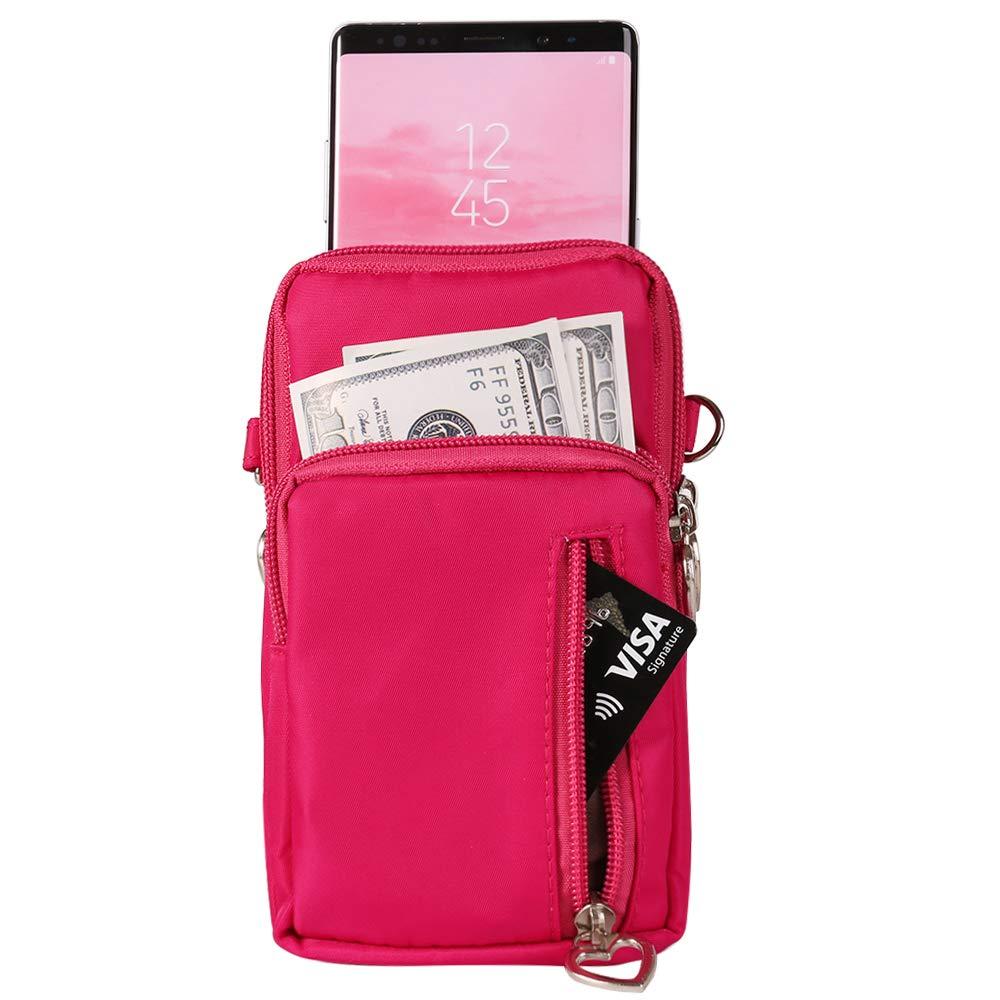 HTC U12 Plus OnePlus 6T Moto G7 Z4 Z3 G6 E5 Play Women Nylon Cell Phone Purse Travel Crossbody Bag Wristband Sport Armband Wallet For Galaxy S10 Plus S9 Plus A50 A7 J7 Prime J7 V J7 Pro J4 Purple