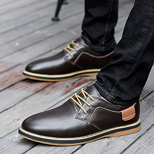 Abby 6111a Oxford Bussiness Casual Schoenen Fashion Comfy Slim Lace Up Leather Brown