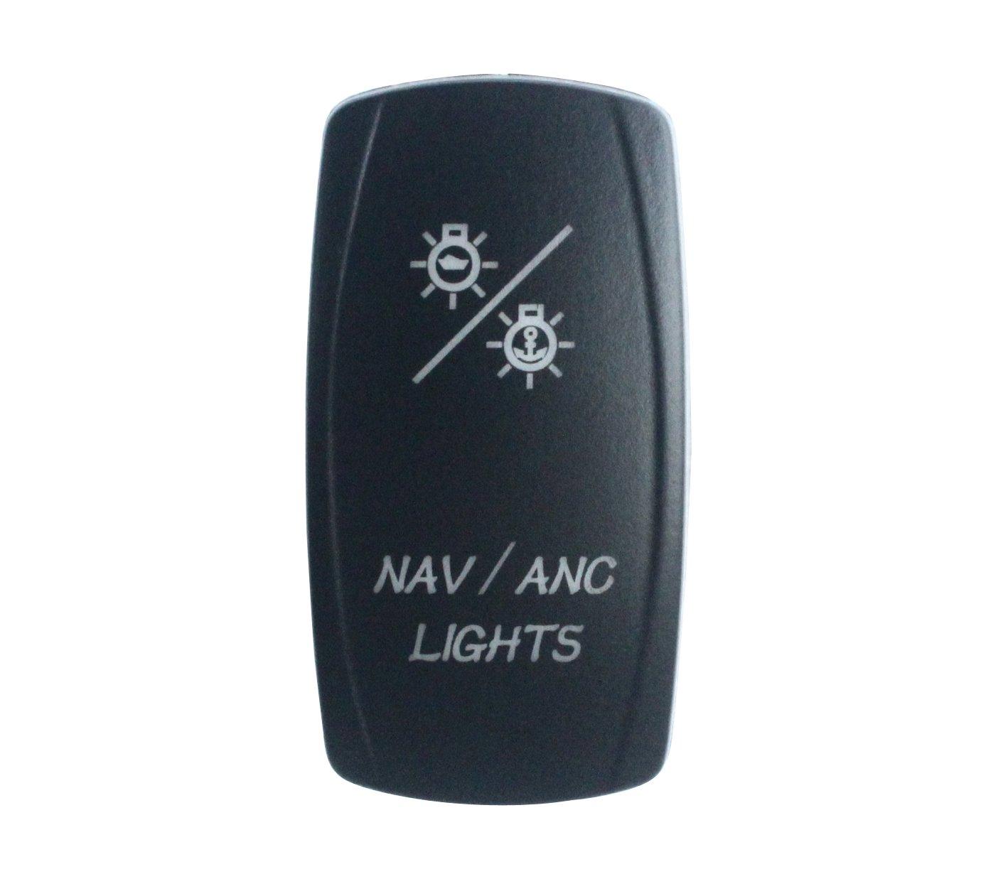 BANDC NAV/ANC LIGHTS Rocker Switch On-off-ON Blue LED Dpdt/7 pins 12v/24v on