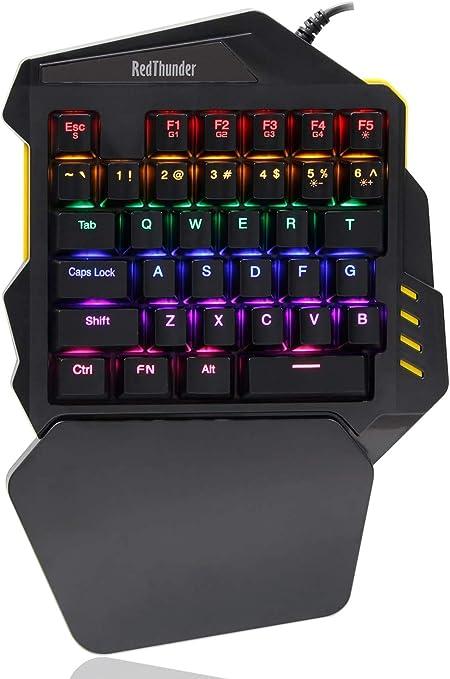 RedThunder Teclado mecánico para juegos con una sola mano Botón de programación de macro Mini teclado retroiluminado portátil Mini controlador ...