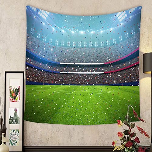 Lee S. Jones Custom tapestry soccer stadium in the night in france eurocup all graphics are made up d rendering by Lee S. Jones