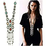 SUNSCSC Vintage Retro Rhinestone Silver Gold turquoise Long Boho Bohemian Statement Necklace for Women