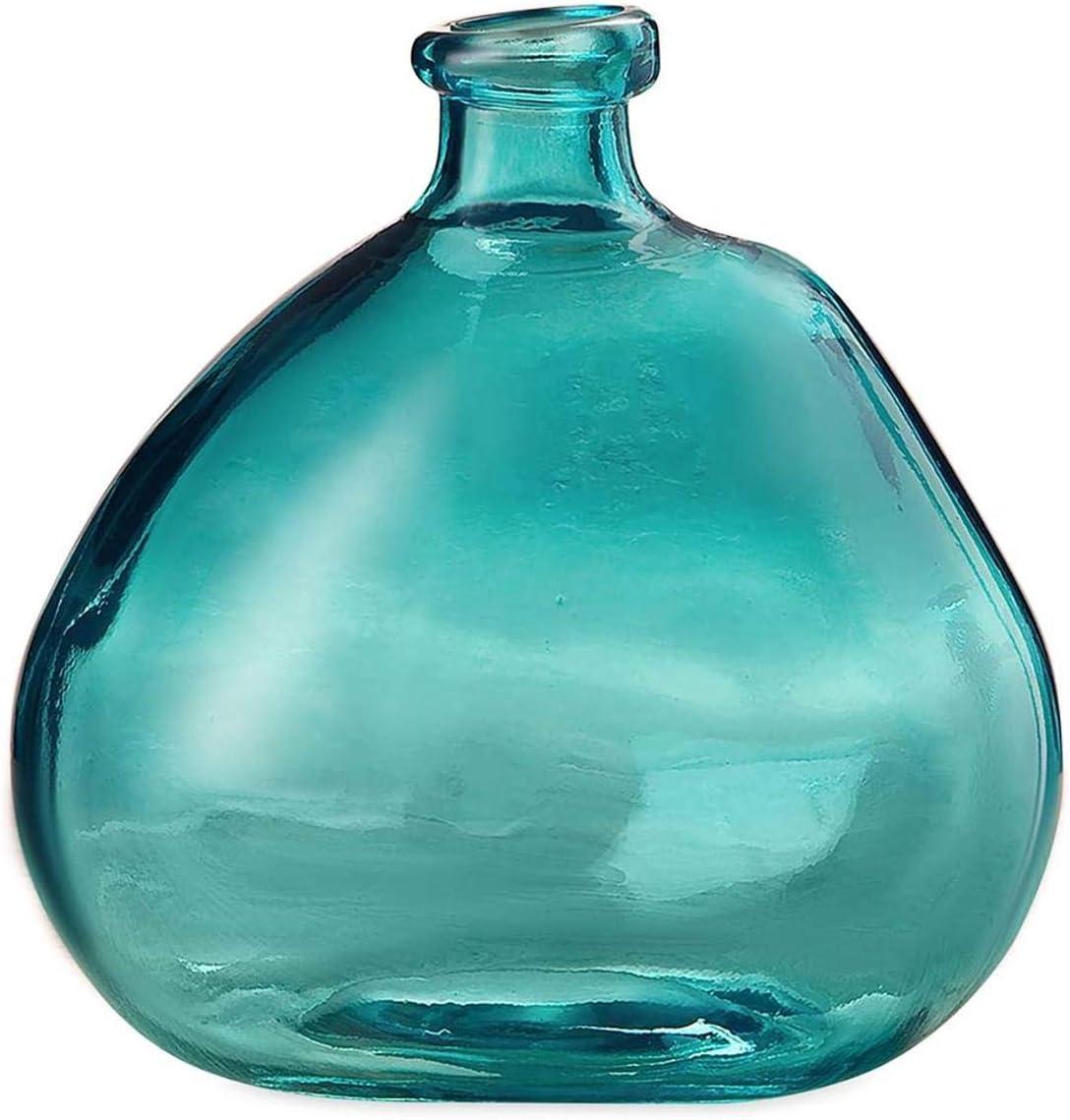 Aqua Askew Recycled Glass Balloon Vase, 9