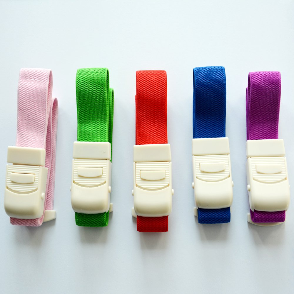 100 Pcs Colorful Adjustable Medical Latex-free Buckle Tourniquet for Outdoor Emergency to Stop Bleeding