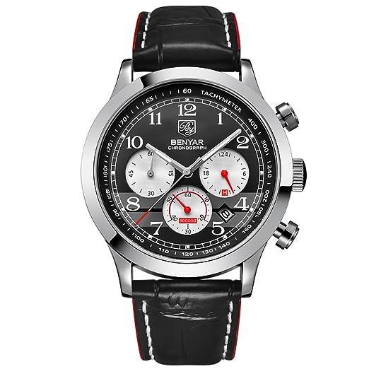 BENYAR - Reloj de pulsera para hombre con marco de metal con cronógrafo y correa de piel para hombre: Amazon.es: Relojes