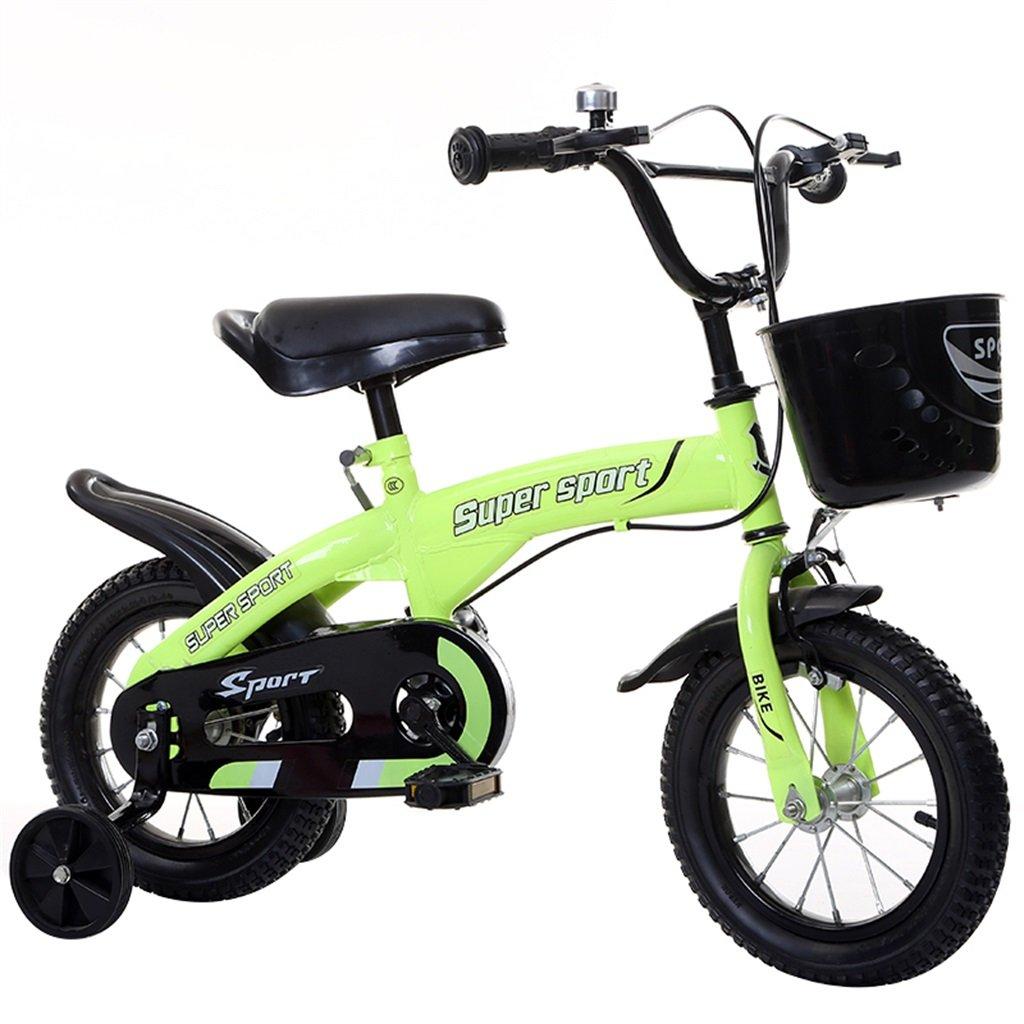 子供の自転車アウトドアマウンテンバイク2-3-6-8ボーイズとガールズ子供用玩具調節可能ハンドルバー/トレーニングホイール付きサドル-12/14/16/18インチ 14 inch Green B07C9T3BT1