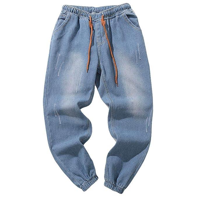 3931c54062 Pantalones Chandal Hombre JiaMeng Pantalones Vaqueros de algodón de  Mezclilla Lavado Lavado Vintage Pantalones de Trabajo