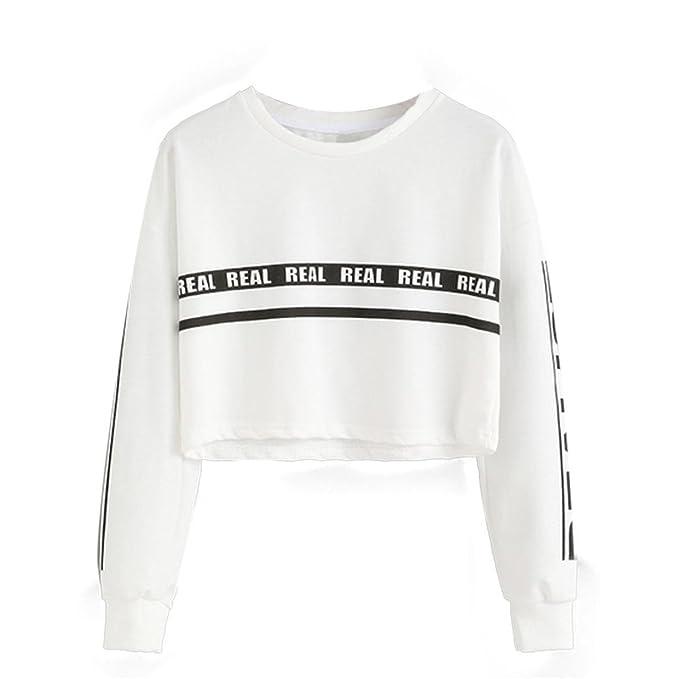 Camisas Mujer Manga Larga Blusa Tops Camiseta Sudadera Blouse Letra Impresa (M, Blanco)