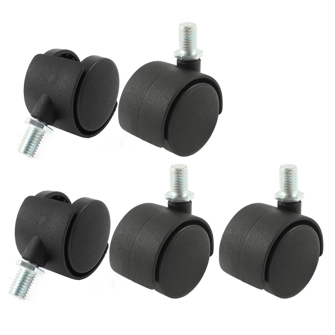 SODIAL R 5 piezas ruedas giratorias de sillas de ruedas de 2 pulgadas de diametro de 10 mm con rosca del vastago de color negro Rueda giratoria de sillas de ruedas