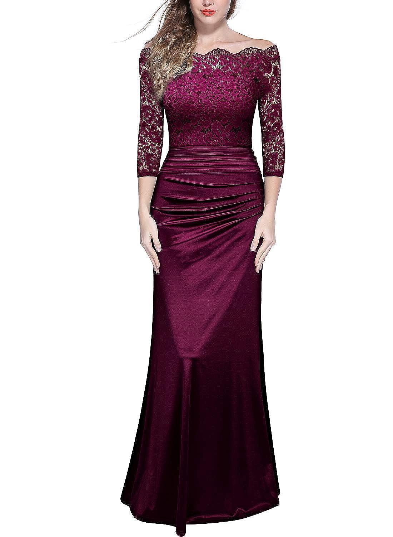 4d52a1ddf95 Miusol Women s Retro Floral Lace Vintage 2 3 Sleeve Slim Ruched Wedding Maxi  Dress  Amazon.ca  Clothing   Accessories