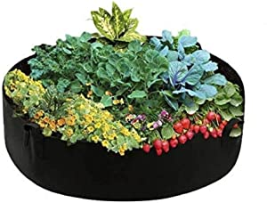 Maius Raised Garden Bed, 15/50/100 Gallon Grow Bags Felt Fabric Breathable Planting Container Grow Bag for Plants, Flower,Vegetables(15 Gallon, Black)