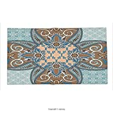 Custom printed Throw Blanket with Arabian Decor Collection Arabian Style Geometric Pattern Islamic Persian Art Elements and Baroque Touch Art Print Brown Teal Super soft and Cozy Fleece Blanket