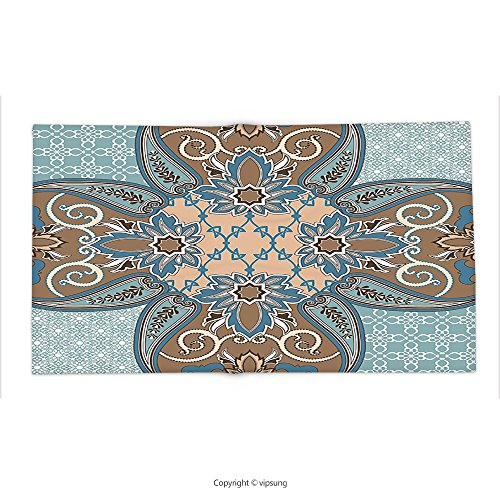 Custom printed Throw Blanket with Arabian Decor Collection Arabian Style Geometric Pattern Islamic Persian Art Elements and Baroque Touch Art Print Brown Teal Super soft and Cozy Fleece Blanket by vipsung